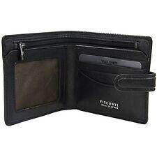 Visconti TSC41 Mens RFID Secure Blocking Leather Bifold Wallet ID  Holder Black