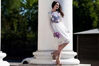 Pavlovo posad shawl. Russian style white dress. dress with lace