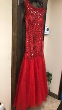 Formal Dresses Evening Gowns Pageant Prom Hot Red Large Fits Sizes 8-10 Mermaid