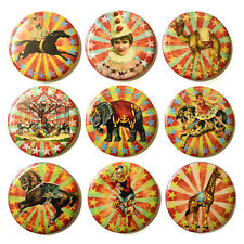 Retro Circus Fridge Magnets Set x 9 55mm Animals Carnival