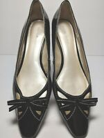 Etienne Aigner Heels Slip On Wedge Black Patent Leather Bow Dress Women 10 M