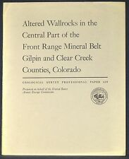 USGS URANIUM in the Front Range Mineral Belt GILPIN & CLEAR CREEK Co COLORADO