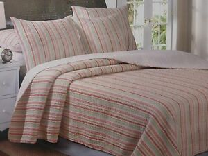 2 pc Stripe Twin Quilt and Sham Set NIP