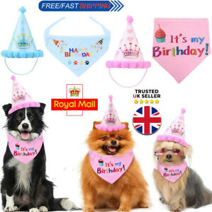 Pet Happy Birthday Bandana Scarfs Ties and Cute Adorable Hat for Girls Boys Dogs