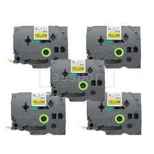 5pk Black on Yellow Tape Label Compatible for Brother P-Touch TZ TZe 651 24mm