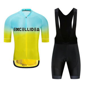 EXCELLIDEA Yellow And Blue Color Summer Mens Cycling Jersey And Bib Short Set