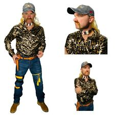 Joe Exotic Costume Shirt Blonde Mullet Earrings Necklace Hat Tiger Gun Accessory