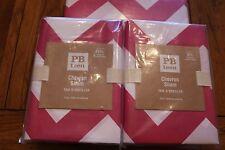 3PC POTTERY BARN TEEN CHEVRON FULL/QUEEN DUVET COVER & 2 EURO SHAMS PINK MAGENTA