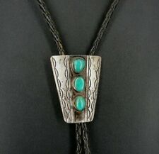 Bolo Tie Silver 3 Turquoise Stones Vintage Sterling 925 Slide Bolo TIe