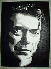 Canvas Painting David Bowie Portrait B B&W Art 16x12 inch Acrylic