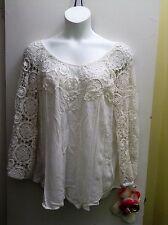 BELLA MODA Women's Plus Size Boho summer cottonTop/Blouse/Lace.White.New.3X