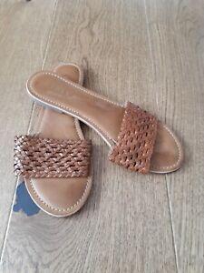 Ladies LIPSY Tan Brown Weaved Slider Sandals Size 7 40