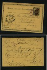Colombia  nice postal card  to  US   1898   KS0405