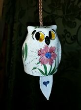 Hand Painted Hanging Ceramic Owl Bell White Cream Flowers Bird chime decor CUTE