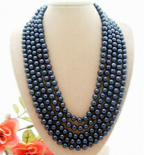 7-8mm Natural South Sea Freshwater Black Pearl Fashion Long Necklace 100''+AAA