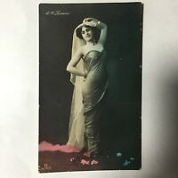 Vintage Mlle Lorraine Famous Dancer Tinted Photo Postcard French Glamour