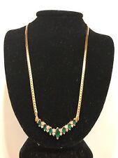 "14k 14kt Yellow gold Emerald Diamond V Shaped Necklace 7.6 Grams Size 17"" L"