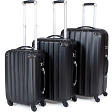 TecTake Suitcase Trolley Set of 3 Super Lightweight Rolling Mix-hard Shell Suitcases Travel Bags Luggage Black
