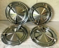 Set of 4 Vintage Pontiac Motor Division Chrome  Baby Moons Poverty 60's Hubcaps