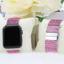 Hot Pink Made with Swarovski Crystal Stainless Steel link Apple Watch Band