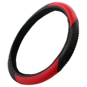 """BDK  Red Black Steering Wheel Cover for Auto Car Truck SUV 15"""" Universal Two-Ton"""