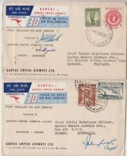Stamps various on pair covers Sydney to Thailand 1st flight return signed
