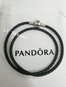 Genuine Pandora Grey Leather Double Bracelet 38cm Long, S925 ALE Valentines G