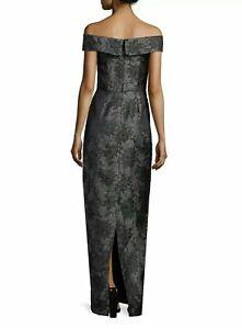 Karl Lagerfeld Black & Gunmetal Metallic Grey Floral Jacquard Gown Dress Size 8