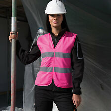 WOMENS HI VIZ SAFETY TABARD VEST GILET HIGH VIS 3 Cols LADIES 6 to 18 WORK BIKE