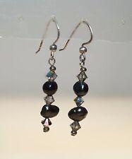 """Black Pearl Crystal 925 Sterling Silver 1 5/8"""" Chandelier Pierced Earrings"""