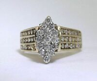 Diamond Ring 14k Yellow Gold Fn Marquise Cluster 1ct Pyramid Estate FINE EDH