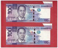 "2015 PHILIPPINES 100 Peso NGC Aquino & Tetangco Error in pair - Miscut & "" Tail"""