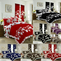 KING SIZE 4 PCS COMPLETE BEDDING SET - DUVET COVER FITTED SHEET 2 PILLOW CASES