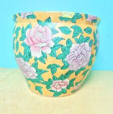Vase Oriental Exterior Design Bright Color gold Background Pink Yellow Flowers