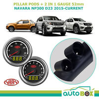 Navara NP300 D23 2015-on SAAS Pillar Pod w/ 2in1 Gauge Boost Volt Ext Temp Volt