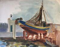 Bootswerft mit Arbeitern im Dock Aquarell Anonym Norddeutsch  35 x 44,5 cm