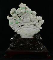 "16 "" naturelle de Birmanie glace jadeite jade sculpture fleurs pêche oiseaux"