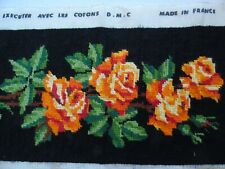 French vintage long cross stitch needlework embroidery rose