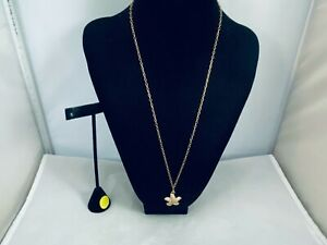 VTG. J. CREW CLEAR PAVE RHINESTONE GOLD TONE STARFISH LONG CHAIN NECKLACE