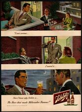 1949 Schlitz Beer - Balcony - Cigarette - City - Suits - Retro Vintage Ad