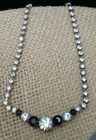 Vintage Multi Prong Set Clear & Black Rhinestone Bib Rhinestone Strand Necklace
