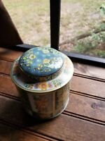 """FLORAL 6"""" LIDDED TIN DESIGNED BY DAHER LONG ISLAND NY MADE IN ENGLAND"""