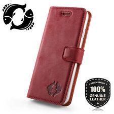 SURAZO® Premium Echtes Ledertasche Schutzhülle Nubuk Wallet Flip Case - Rot