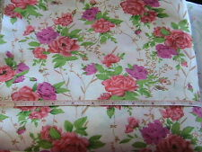 "ROSE GARDEN 100% quality cotton blend sew fabric BY THE YARD x 46"" wide"