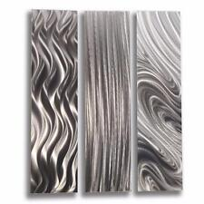 Silver Contemporary 3 Piece Metal Wall Art - Silver Trilogy by Jon Allen
