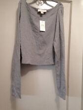 NWT 'NICKI MINAJ' gray heather SHORT CROP LongSlv T-SHIRT  Size L women Orig $22