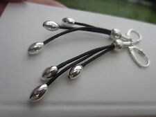 925 Silver Leather Earrings with Black Genuine Leather Cord 925 Beads Dangle