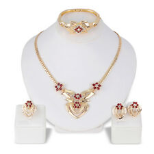 Crystal Women Party Chain Earrings Necklace Bracelet Ring Set Jewelry