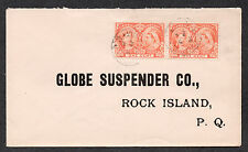 **Canada Cover, SG# 51(Pair) To Globe Suspender Co Rock Islnd PQ