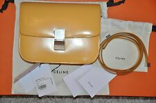 Authentic New Women's CELINE Classic Box Yellow Calf Leather Medium Shoulder Bag
